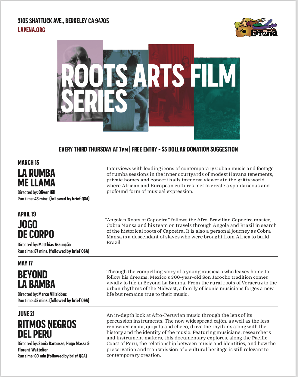 Roots Arts Film Series With Qa Ritmos Negros Del Peru La Peña
